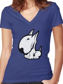 Odie English Bull Terrier Women's Fitted V-Neck T-Shirt