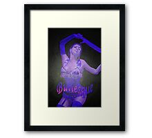Female Strip Tease Artist Performing Blue Burlesque Framed Print