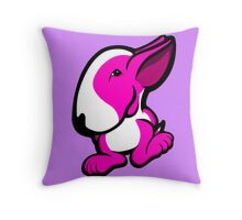 Pink and White English Bull Terrier  Throw Pillow