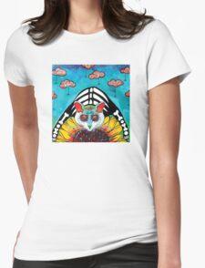 Sunflower Cat Womens Fitted T-Shirt