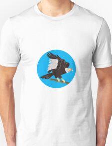 California Condor Perching Branch Circle Retro T-Shirt
