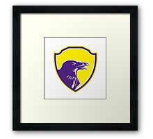Raven Head Woodcut Retro Shield Framed Print