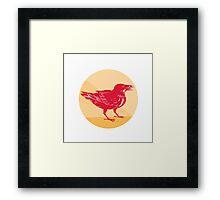 Raven Side Woodcut Retro Circle Framed Print