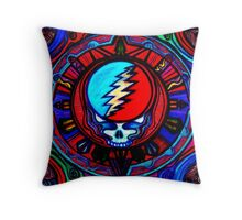 Grateful Dead Steal Your Face Skull / Jerry Garcia Tapestry Psychedelic Hippie Band Design Throw Pillow