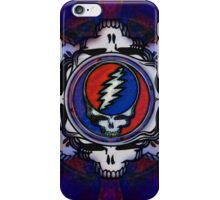 Grateful Dead Steal Your Face Trippy Skull Fractal Psychedelic Tapestry Design iPhone Case/Skin