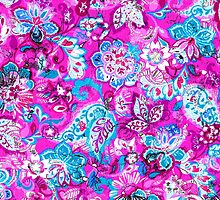 Cute abstract mixed pink aqua flowers by blackwhitephoto