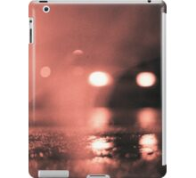 Analog photo of tarmac of street at night with car headlights in rain iPad Case/Skin