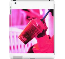 Surreal image of young woman drinking ice drink with straw iPad Case/Skin