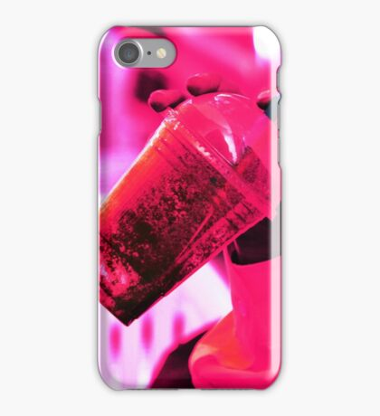 Surreal image of young woman drinking ice drink with straw iPhone Case/Skin