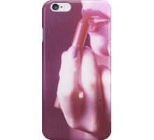 Surreal analog film photo of lady putting on lipstick makeup iPhone Case/Skin
