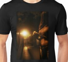 Photo of sexy young lady with no face pulling up t shirt in street Unisex T-Shirt