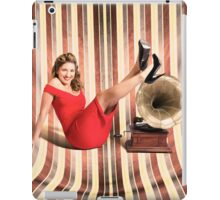 Happy pin up lady. Retro music and entertainment iPad Case/Skin