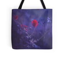 Red poppy in blue - medium format analog Hasselblad film photo Tote Bag