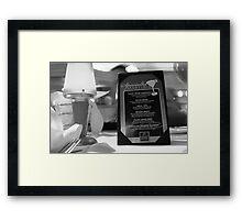 the Chart House Martini menu Framed Print