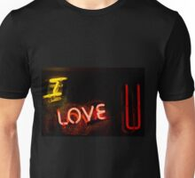 I love you neon light sign at night photograph romantic design Unisex T-Shirt