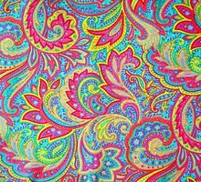 Colorful vintage paisley floral  by blackwhitephoto