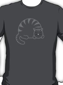Sleeping Chubby Kitty - Grey T-Shirt