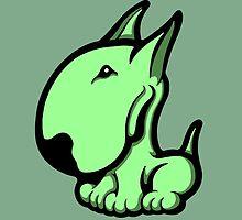 Odie English Bull Terrier Pale Green  by Sookiesooker