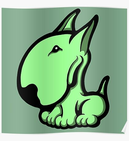 Odie English Bull Terrier Pale Green  Poster