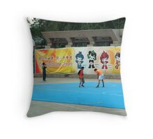 Kids  playing in Bejing Throw Pillow