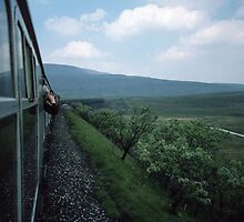 Approaching Ribblehead Viaduct on Carlisle Settle Railway North Yorkshire England 198405310008  by Fred Mitchell