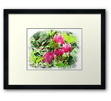Bleeding Hearts with saying Framed Print