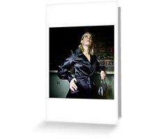 Bridget in Black Satin Evening Jacket Greeting Card