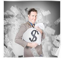 Business person with money sack. Financial success Poster