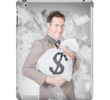 Business person with money sack. Financial success iPad Case/Skin
