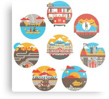 Wes Anderson Films Icon Illustrations Metal Print