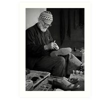 Street Cobbler at Work Art Print