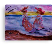At the beach together, watercolor Canvas Print