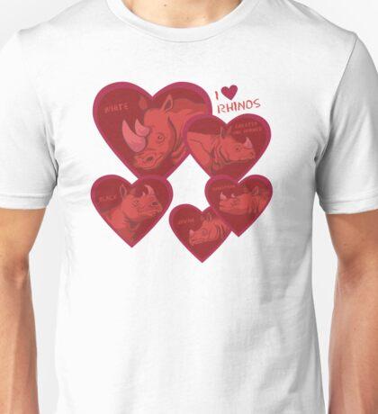 Love Rhinos - multiple species Unisex T-Shirt