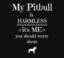 My Pitbull is harmless - white on black Womens Fitted T-Shirt
