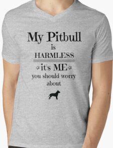 My pitbull is harmless - black on white Mens V-Neck T-Shirt