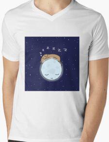 Sleeping Dog & Nightime Moon Mens V-Neck T-Shirt