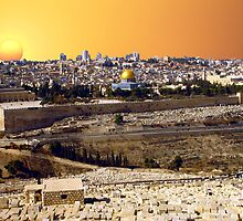 Jerusalem at night and sunset by Moshe Cohen