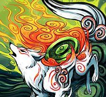 okami den, amaterasu, wolf by michelledraws