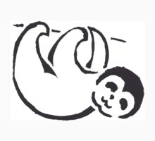 Black and White Baby Sloth Stencil Art Kids Tee