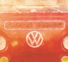 Artistic digital drawing of a VW Combie campervan Sticker