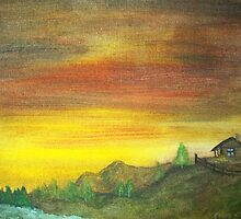 Cabin on the Hill by cindywilsonart
