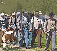 Stylized photo of Civil War re-enactor soldiers returning to camp after a battle. by NaturaLight