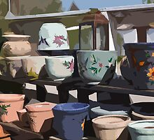 Stylized photo of mexican pottery at an outdoor display. by NaturaLight