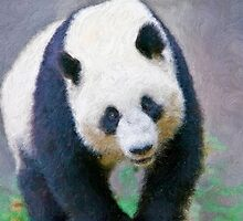 Stylized photo of Su Lin, the third giant panda to be born at the San Diego Zoo, San Diego CA. by NaturaLight