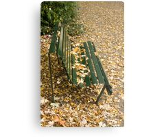 Leaves on Bench Metal Print