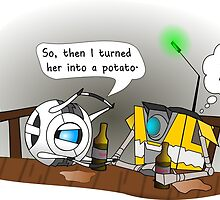 Claptrap and Wheatley at Moxxi's by Gwen Olson