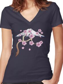 Cherry Blossoms and Mt. Fuji Women's Fitted V-Neck T-Shirt
