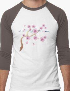 Cherry Blossoms and Mt. Fuji Men's Baseball ¾ T-Shirt