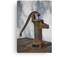 Stylized photo of a hand water pump at a horse trough in Old Town State Historic Park, San Diego CA. Canvas Print