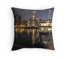 spirit of chicago along navy pier Throw Pillow